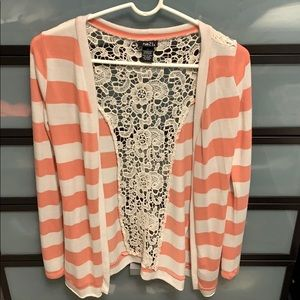 Rue 21 stripped sweater with lace back